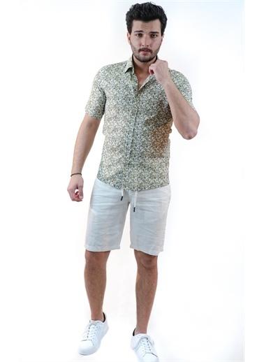 Boris Becker Gömlek Yaka Kısa Kol Çiçekli Desen Deri Dikme Detaylı Erkek Gömlek Yeşil